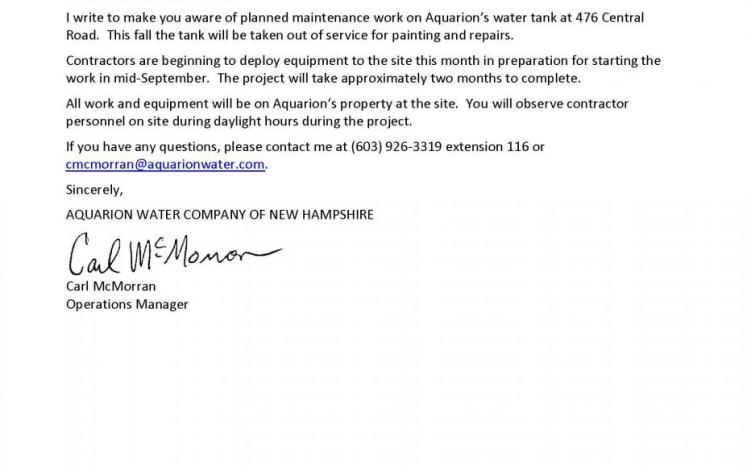 Aquarion Water Letter